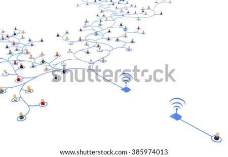 Crowd of small symbolic 3d figures linked by lines, wireless connection segment, isolated - stock photo