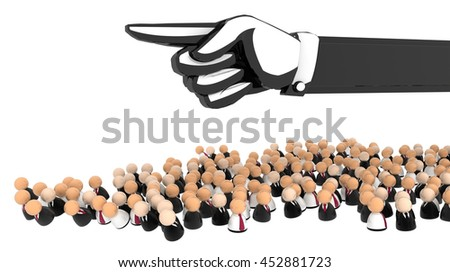 Crowd of small symbolic figures, 3d illustration, horizontal, over white, isolated - stock photo