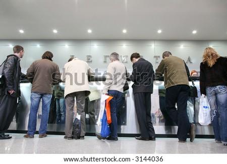 crowd on registration - stock photo