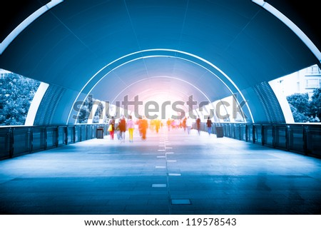 Crowd through the corridor - stock photo