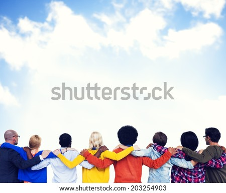 Crowd with hands on their shoulders and the view of the clear sky. - stock photo
