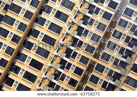 crowded apartment block - stock photo
