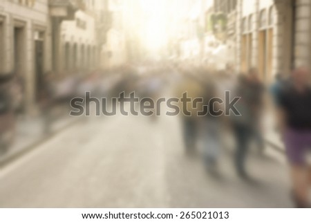 Crowded Busy Street Blurred in Motion - stock photo