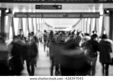 Crowded City People Background - black and white tone - stock photo