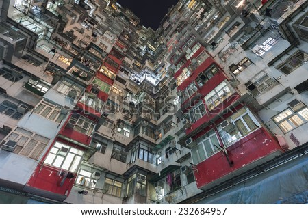 Crowded Residential building in Hong Kong - stock photo
