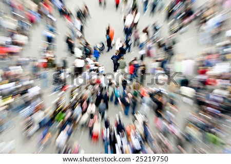 Crowds in an urban setting - stock photo