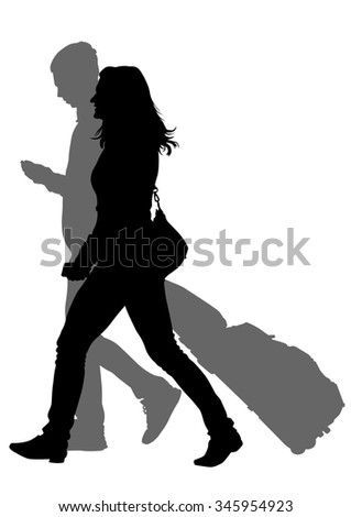 Crowds of people whit travel suitcases on white background - stock photo