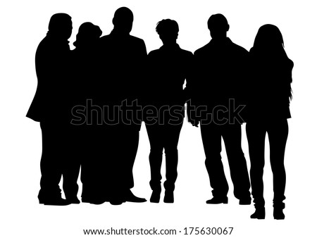 Crowds people man and women on street - stock photo