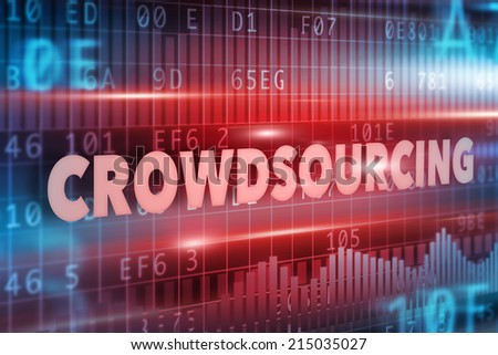 Crowdsourcing concept with red text red background  - stock photo