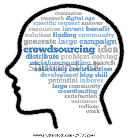 Crowdsourcing in word cloud concept - stock photo