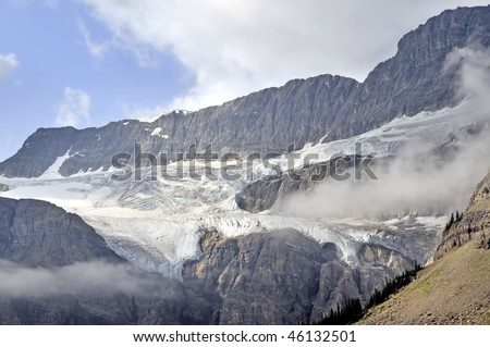 Crowfoot Glacier, Icefields Parkway, Alberta, Canada Horizontal - stock photo
