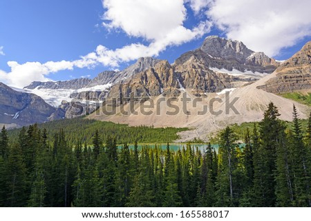 Crowfoot Mountain and Glacier in Banff National park - stock photo