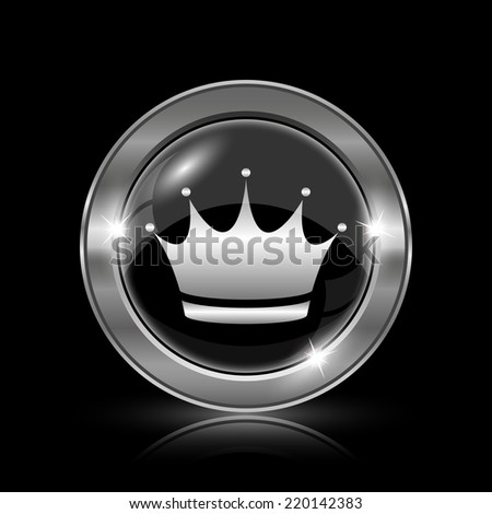Crown icon. Internet button on black background.  - stock photo