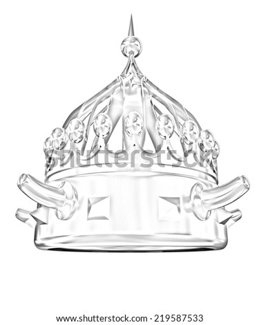 crown isolated on white background. Pencil drawing  - stock photo