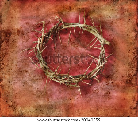 Crown of Thorns on a red grunge background. - stock photo
