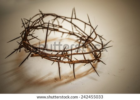 Crown of thorns on yellow table. - stock photo