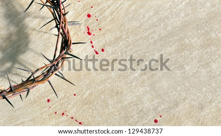 Crown of thorns with blood on grungy background - stock photo