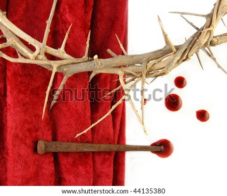 Crown of Thorns with metal spikes and blood drips. - stock photo