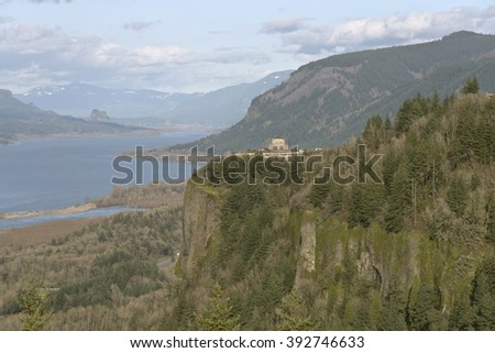 Crown Point and the Columbia River Gorge Oregon. - stock photo