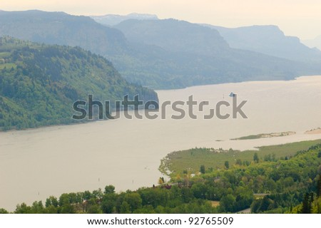 Crown Point overlook in the Columbia River Gorge - stock photo
