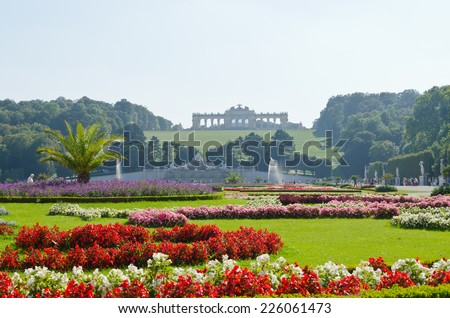 Crown prince privy garden of Schonbrunn Palace in Vienna, - stock photo