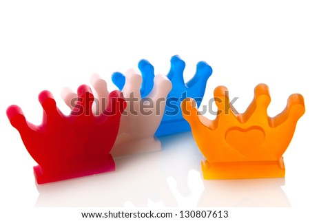 crowns in the color red, white, blue and orange, symbol of the dutch coronation on 30th of april 2013 - stock photo