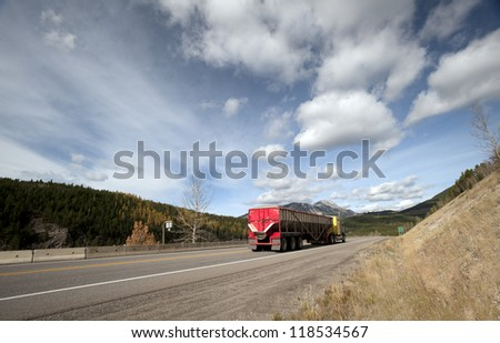 Crowsnest Pass (Highway #3) in Alberta-British Columbia boundary in Canada - stock photo