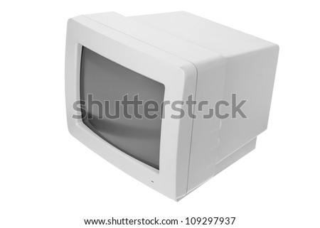 CRT Computer Monitor on White Background - stock photo