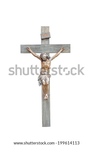 Crucifix with Figure of Jesus Isolated on a White Background  - stock photo