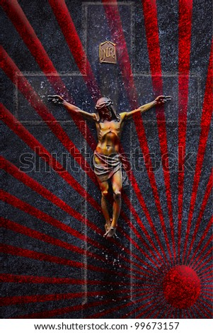crucifixion in sunbeams grunge black background - stock photo