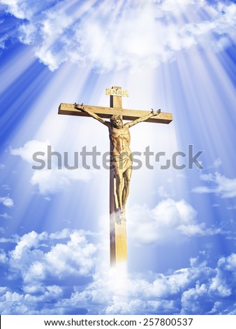 Crucifixion of Jesus Christ in the sky  - stock photo