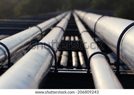 crude oil pipeline transportation to refinery  - stock photo