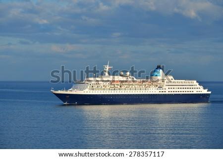 Cruise liner heading for the port of Tallinn - stock photo