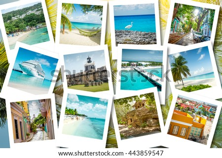 Cruise memories on instant photos - summer caribbean vacations - stock photo