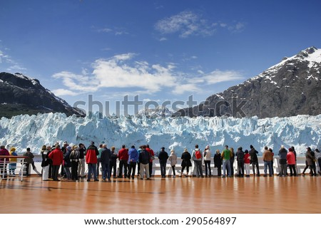 Cruise passengers watching Margerie Glacier,  Alaska, USA - stock photo