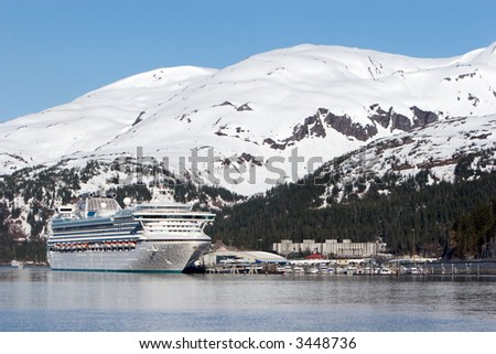 Cruise ship at Alaskan harbor - stock photo