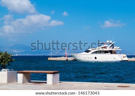 Cruise ship at Naxos port, Greece - stock photo