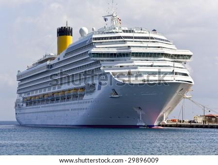 Cruise ship at Rhodes island, Greece - stock photo
