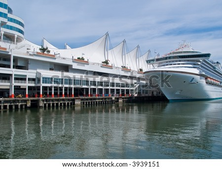cruise ship berthed in Vancouver - stock photo
