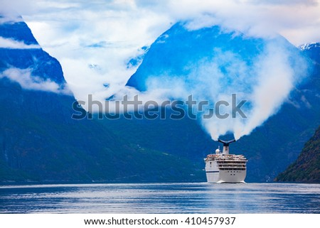 Cruise Ship, Cruise Liners On Hardanger fjorden, Norway - stock photo