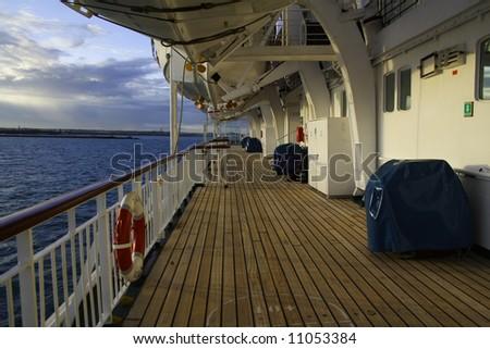 Cruise ship deck exterior. - stock photo