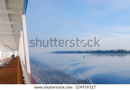 Cruise ship deck. The Volga river panorama. - stock photo