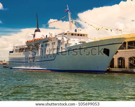 Cruise ship docked at the bay of Havana - stock photo