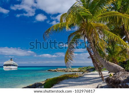 Cruise ship from the stern side sailing at the paradise lagoon with the palm tree on the caribbean sand beach . - stock photo