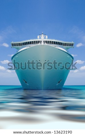 cruise ship in a caribbean ocean - stock photo