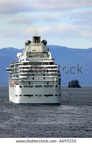 Cruise ship in Alaskan Inland Passage, Alaska - stock photo