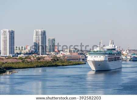 Cruise Ship in Channel Near Tampa leaving port - stock photo