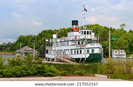 Cruise ship in Gravenhurst Wharf - stock photo