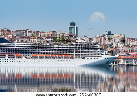 Cruise ship in istanbul Port  - stock photo