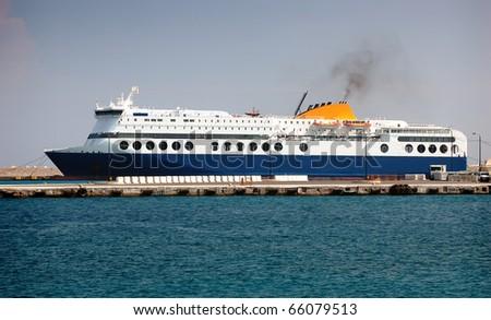 Cruise ship in port - Rhodes, Greece - stock photo